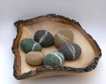 Felted Rocks, pebbble stones wool felt home decor natural river woodland colorful beach cottage handmade dude housewarming gift Earth woolly