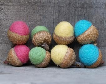 Felt Acorns, Colorful Needle Felted Wool. Fun Fall, Autumn & Thanksgiving Decoations - 8