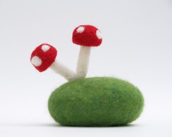 Felted Toadstool Rock, Needle Felted Wool Whimsy, Waldorf Naure inspired Paper Weight Gift Unique Eco Friendly Home Decor Stocking Stuffer