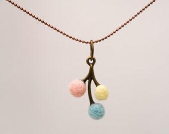 Flower Necklace, Needle Felted Flower Pendant Jewelry, Pretty Pastel Wool Jewelry