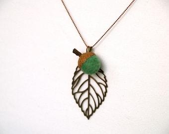 Acorn Pendant Jewelry, wool felt teal green handmade necklace woodland Waldorf rustic wedding bridesmaids flower girl eco friendly
