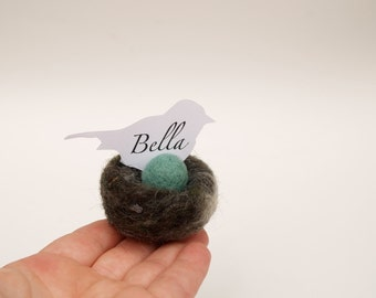 Woodland Nest Place Cards, Woolly Wedding Decoration, set of 5 turquoise robins blue egg in woolly nest Woodlandteamt