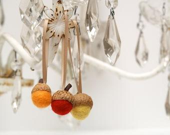 Fall Ornaments, Autumn Decorations, Felt Acorns, Needle Felted Home Decor, Natural Rustic - 9