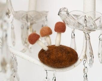 Wool Mushroom Rock, handmade felt autumn fall home decor woodland natutre table housewarming gift table centerpiece brown