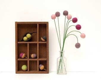 Wool Craspedia Flowers, Colorful Handmade Felt Billy Button Balls, Purple Lavender and Blushing Pink Home Decor Decorating Acorn