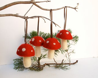 Waldorf Ornaments red toadstool mushroom decoration woodland tree handmade nature white Hanging Alice in Wonderland - 4