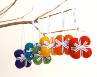 Handmade Gift Ornaments 6 RAINBOW decoration woodland tree needle felted wool nature white Hanging Colorful large