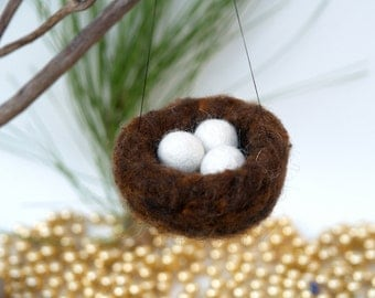 Needle Felted Nest Ornament, Christmas Tree, Woodland Decoration, Bird, Eggs, White Snow, Magical, Fairytale, Waldorf