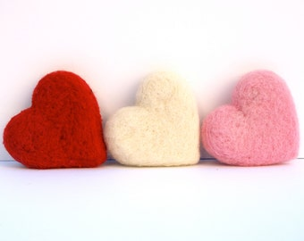 Needle Felted Hearts, 3 Large Felt Wool Love romantic gift home decor Red Pink White - Seventh Wedding Anniversary 7th - Mothers's Day
