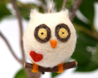 Love Owl Ornament Christmas Gift Wool Needle Felt Decorations Woodland Waldorf Cute Bird Fairytale Baby Nursery White Fairyfolk