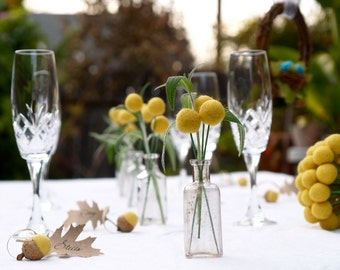 Wedding Table Decoration Yellow Craspedia Centerpiece billy button ball flower felt bouquet pom pom floral arrangement Spring Summer Country