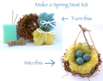 Needle Felting Kit Beginner - Wool - Starter Kit - Tools Needles - Spring Nest Kit - DIY Craft Kit - Felt Tutorial - DIY Home Decor
