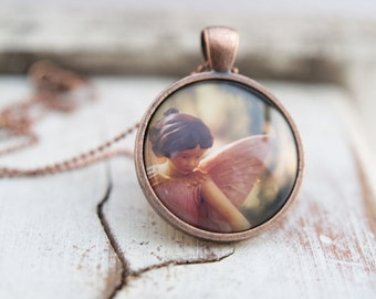 Fairy Necklace, Girls Wearable Art Pendant, magical Flower Fairy jewelry for children and adults . pink pastel feminine Christmas Gift