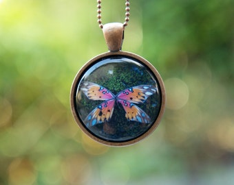 Butterfly Necklace - Wearable Art Photo Pendant - Nature Photography Necklace for Woodland Lovers - Magical Nature Jewlery Series