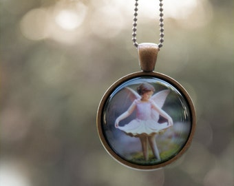 Wearable Photo Art Necklace, Girls Flower Fairy jewelry pendant for children and adults . pastle pink, stocking stuffer
