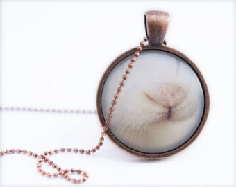 Bunny Necklace, Wearable Photo Art jewelry pendant, children and adults . Rabbit nose Vintage white Pet Animal lover, woodland, Nautre