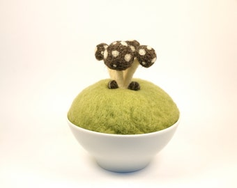 Needle Felted Toadstool Art Woodland Scene, Unique Home Decor - Wool Sculpture Dark Brown and Green Moss, Fox