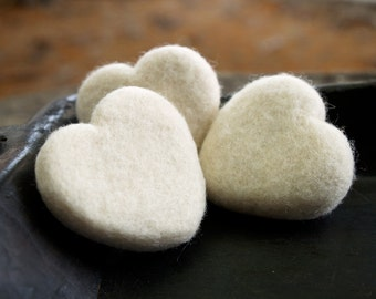 Felt Hearts, Needle Felted Wool Hearts, Snow White Home Decorating, 7th Wedding Anniversary