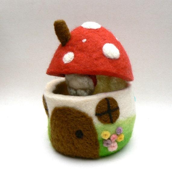 Toadstool Home - Needle Felted Wool Toy - Waldorf.