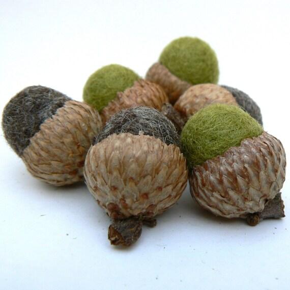 8 Moss and Bark Felted Acorns - Wool Acorns -Waldorf inspired.