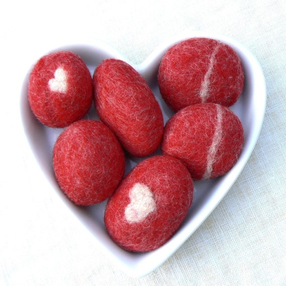 Red Felted Stones, Christmas Gift pebbbles rock heart decor colorful covered beach cottage shabby chic wedding favor Stocking Stuffer