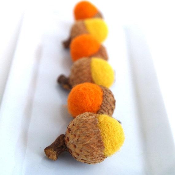 Candy Corn Acorns, Sugar-free treats for Halloween, Rustic Felted Decorations, Yellow & Orange - 6