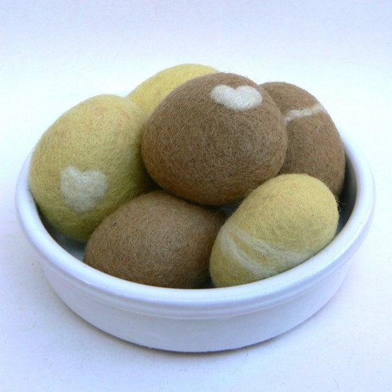 Felted Stones, rocks pebbles wool felt home decor natural colorful beach cottage paperweight dude hostess gift urban chic unique 6