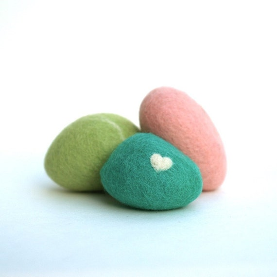Felted Pebbles, rock stone wool felt home decor natural love heart colorful beach cottage baby shower favor Spring Christmas Gifts pastel, 6
