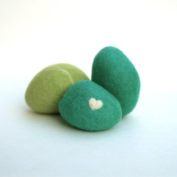 Felted Beach Pebbles, Teal Blue Moss Green, Wool Needle Felted home decor, modern Minimal decorating love heart