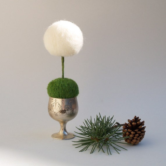 Needle Felted Dandelion, Felted Wool Whimsy in a Silver Egg Cup, nature inspired display, magic, white, green, romantic, magical, fairy