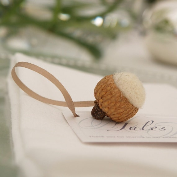 CUSTOM ORDER for Leila - 95 Felted Acorn Place Cards (1/2 orange and champagne acorns with champagne leaves and ribbon)
