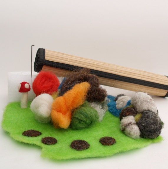 Felted Playscape Kit, learn how to wet and needle felt, colorful wool felting equipment instructions handmade toys diy Handmade gift