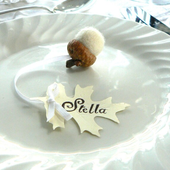 Wedding Place Cards, White Acorn and Oak Leaf Favors 10 Rustic Woodland Snow White Autumn Fairytale Classic Shabby Chic Country Theme