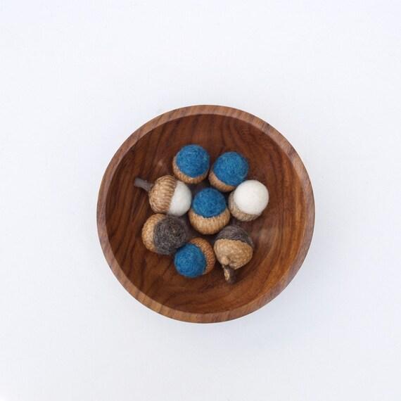 Wool Gift Set, 8 felt acorns in a wood bowl autumn fall home decor woodland housewarming christimas gift teamt dude for him man