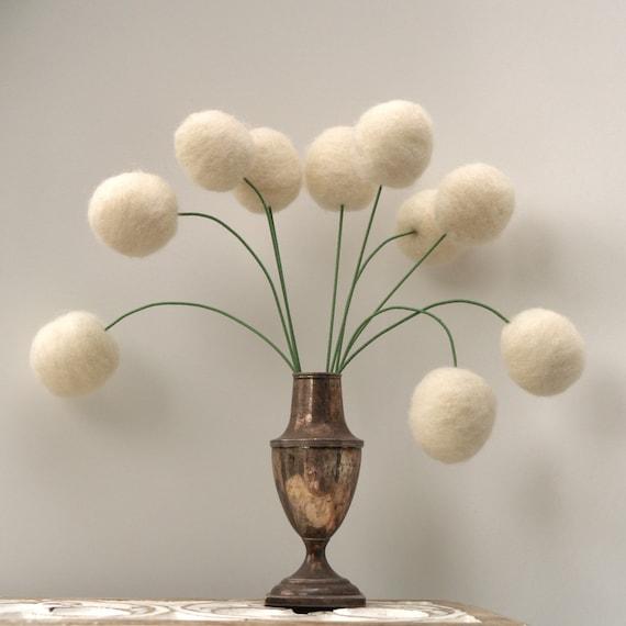 Wool Flowers, felt Craspedia Billy Button Ball Bloom snow white home decor wedding bride bouquet handmade housewarming gift large