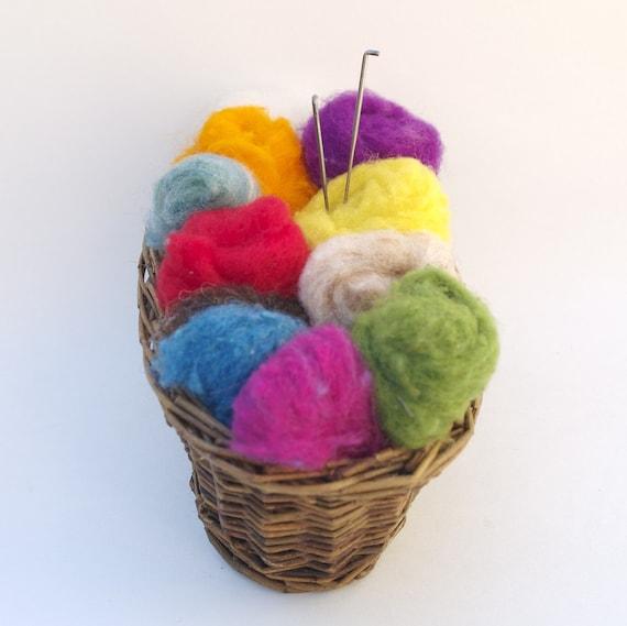 Felting Kit, Needle Felt Supplies Rainbow Wool Yarn Colors Beginners DIY Do It Yourself New Hobby Knitting Pattern Roving Colorful Fairyfolk