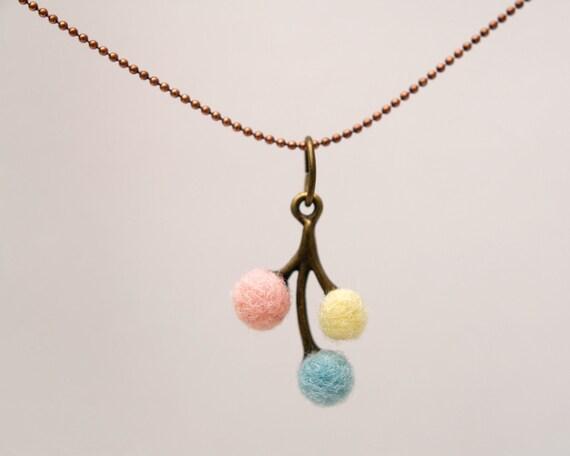 Pastel Felted Necklace, wool felt handmade jewelry pendant rainbow flower dainty feminine flowergirl bridesmaids Christmas eco friendly