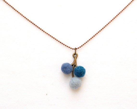 Blue Felt Necklace, wool handmade jewelry pendant beads flower dainty feminine ocean blue beach flowergirl bridesmaids wedding eco