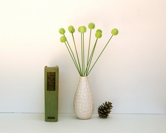 Lime Green Home Decor, Craspedia flowers wool billy button ball pom pom felt Woodland colorful floral arrangement everlasting
