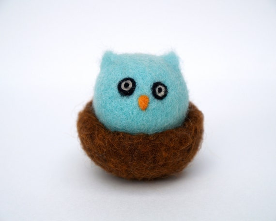 Owl, woodland toy Waldorf wool felt felted woolly bird nest turquoise blue children home decor imaginative play nursery birthday gift