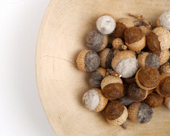 Rustic Fall Decorations, Felt Acorns, Natural Woodland Ornaments, Shades of Brown - 9