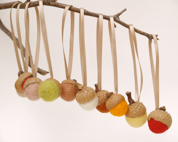 Acorn Christmas Ornaments, Natural Rustic Colors, Fall Autumn Thanksgiving Woodland - 10