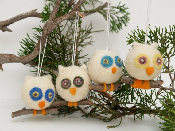 Felt Owl Ornament Wool Decorations Woodland Tree Fairytale Handmade Nursery Home Decor Blue White Green Christmas