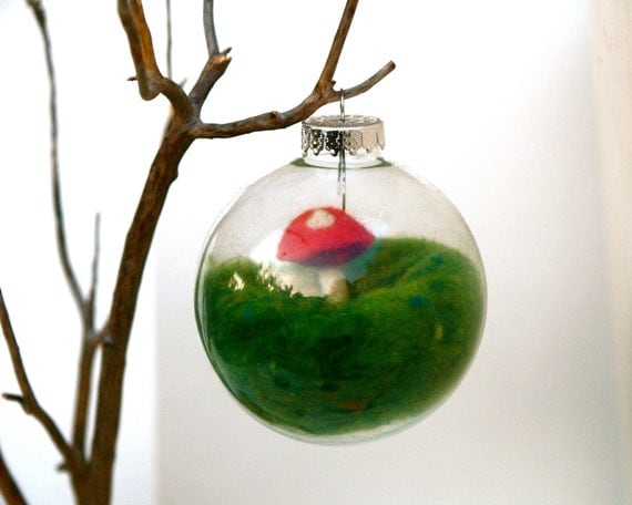 Handmade Ornament Toadstool, Glass Globe Tree Decoration needle felted Christmas woodland alice in wonderland red green moss