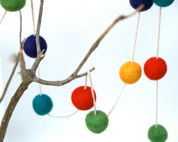 Holiday Garland Felt Colorful Rainbow Decoration needle felted bright alice in wonderland heirloom Festive
