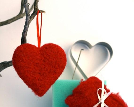 Heart Needle Felting Kit, DIY, Beginner, Tutorial, Felt, Felted, Kids, Learn How To Felt, Valentines Day Kit