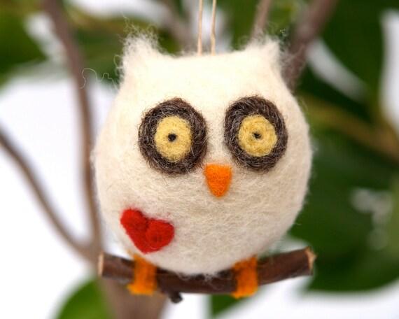 Love Owl Ornament Christmas Gift Wool Needle Felt Decorations Woodland Waldorf Cute Bird Fairytale Baby Nursery White Fairyfolk