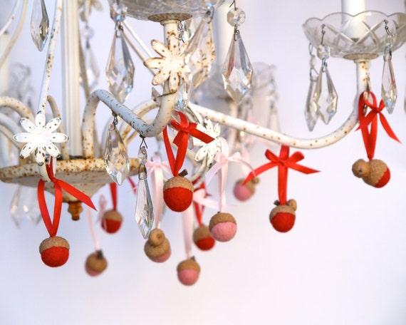 Christmas Decorating, Red Pink Day needle felted acorns nursery elegant entertaining heart chandelier ribbon Shower favor ornament