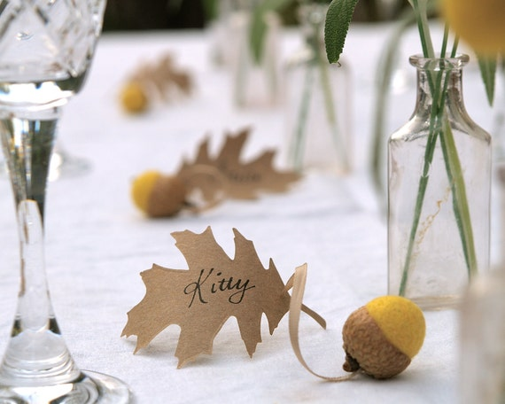 items similar to wedding place cards yellow spring acorn and oak leaf favors 10 rustic woodland. Black Bedroom Furniture Sets. Home Design Ideas
