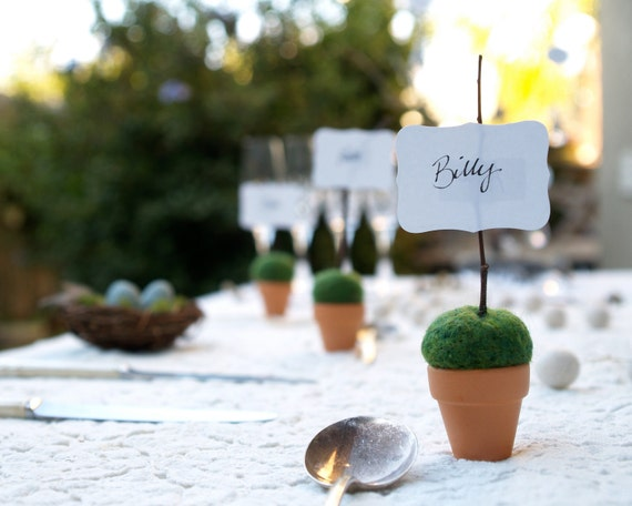 Garden Wedding Place Setting Cards, Rustic Moss Favors 10 Mossy Fairytale Fairy Classic Shabby Chic Country Theme Baby Shower Flower Pot